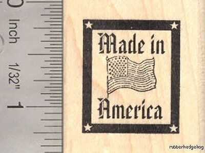 Made in America Flag Rubber Stamp, USA D16013 Wood Mounted