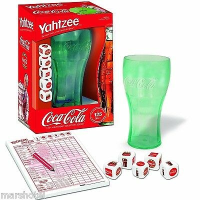 COCA COLA COKE SODA 125TH ANNIVERSARY YAHTZEE DICE GAME WITH CUP NEW! BOXED