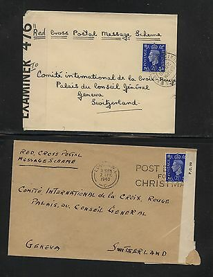 Great  Britain  2 censor covers to Red Cross Switzerland        H0111-39