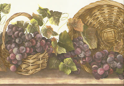 GRAPES IN WICKER BASKETS & IVY  Wallpaper bordeR Wall