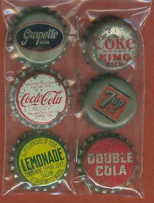 6 VintageCork Bk Soda Bottle Caps- Grapette Coca Cola Double Cola Lemonade  7up