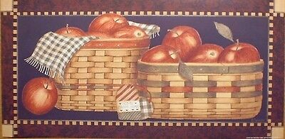art print~LOTS OF APPLES~in baskets~Linda Spivey~red apple fruit folk 20x10