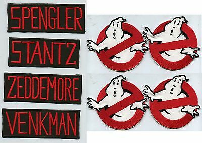 Set of 4  Ghostbusters No Ghost & [4] Classic Name Tag Iron-On Patches