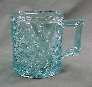 Blue Daisy and Button with Crossbars Early American Pattern Glass Mug