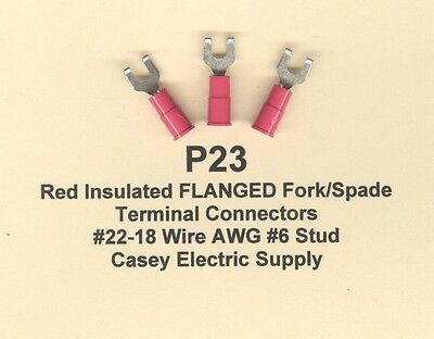 50 Red Insulated FLANGED Fork Spade Terminal Connector #22-18 Wire #6 Stud MOLEX