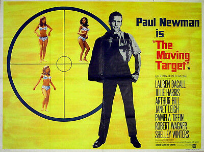 MOVING TARGET 1966 Paul Newman Lauren Bacall Julie Harris UK QUAD POSTER