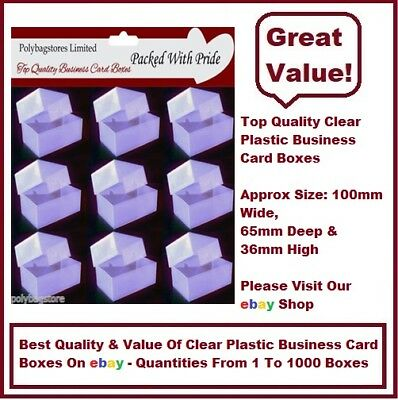 50 Clear Plastic Business Card Boxes / Craft Boxes
