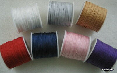 100ft Reel of 1mm diameter woven IMITATION SILK CORD - choice of seven colours