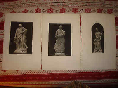 Superb Set Of 3 1889 Antique Victorian Art French Sculpture Print Guitar Music N