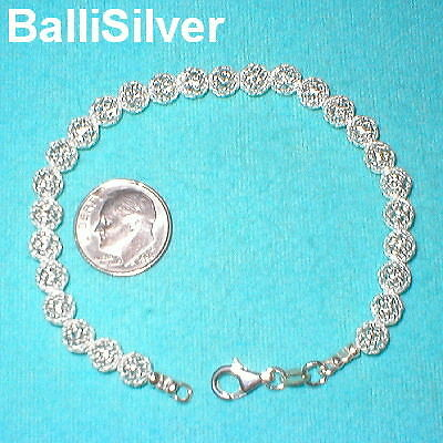 6 pieces Sterling Silver 925 6mm MESH NET BEADS Beaded Bracelets Lot Real Silver