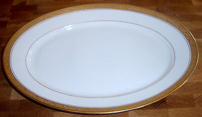"Hutschenreuther Heavy Gold Encrusted Trim Gold Verge Medium 14.25"" White Platter"