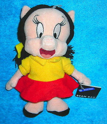 "Warner Brothers Studio Store Looney Tunes Porky Petunia Pig 8"" Plush Bean Bag"