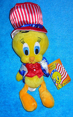 "WARNER BROTHERS STUDIO TWEETY BIRD PATRIOT UNCLE SAM USA 7"" BEAN BAG PLUSH"