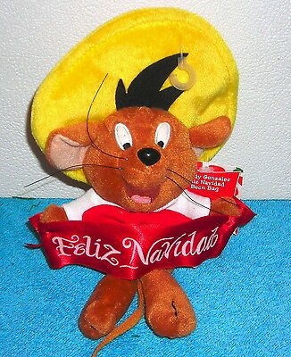 "Warner Brothers Studio Store Speedy Gonzales Feliz Navidad 8"" Plush Bean Bag"