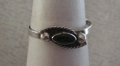 Gorgeous Vintage Taxco Mexico Sterling Silver Black Onyx Ring Size 8 3/4