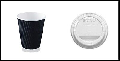 2000 Pieces - 1000 Black Ripple wall paper coffee cups + 1000 lids,  8OZ
