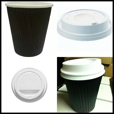 2000 Pieces - 1000 Black Ripple wall paper coffee cups + 1000 lids,  12OZ