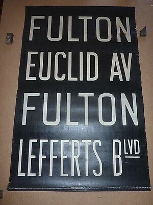 1930's Antique NYC New York City Subway IND Front Destintion Roll Sign FULTON