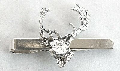 Fallow Deer's Head Tie Clip (slide) in Fine English Pewter, Gift Boxed
