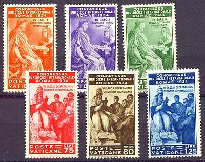 VATICAN #41-46 Mint - 1935 Juridical Congress Set
