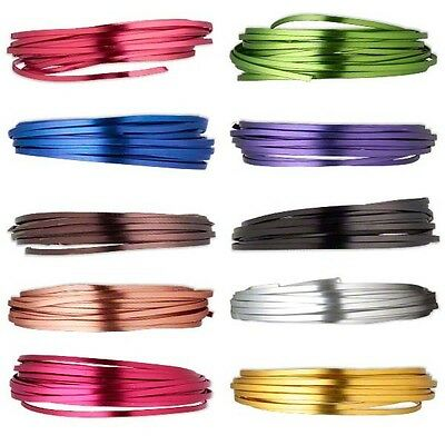 20 Feet 4mm Wide Flat Aluminum Wrapping Jewelry Craft Wire Many Colors to Choose