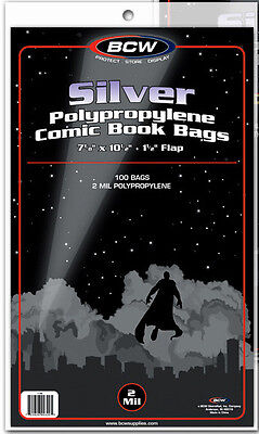 100 BCW Silver Comic Book Bags - Sleeves