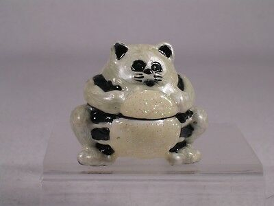 Welforth-Black & White Fat Cat Trinket Box-Stones Magnetic Close #J-140 NIB!