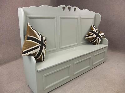 3Ft Handmade Bespoke Painted Pine Settle Pew Bench Storage Chest