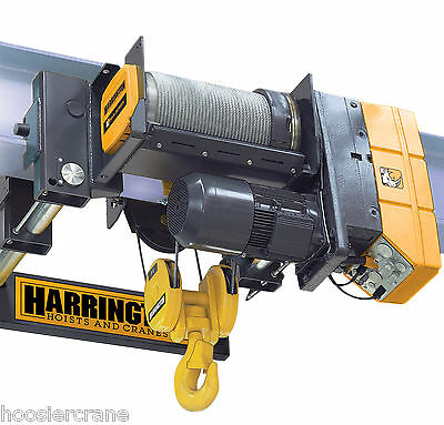 10 Ton Wire Rope Hoist 20 Feet of Lift 230v Harrington RHN RHN10U-20C-20DD-2