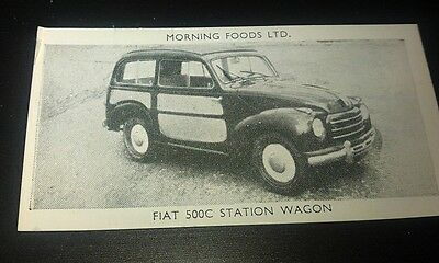 1953 FIAT 500C Station Wagon Orig Cereal Trading Card