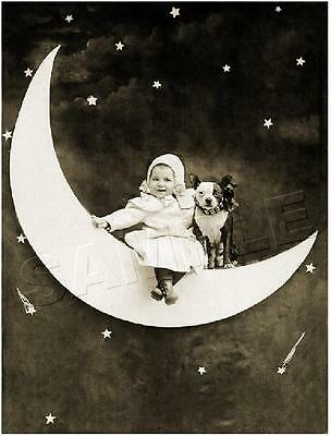 BABY & BOSTON TERRIER DOG on PAPER MOON VINTAGE *CANVAS* Antique PHOTO Art PRINT