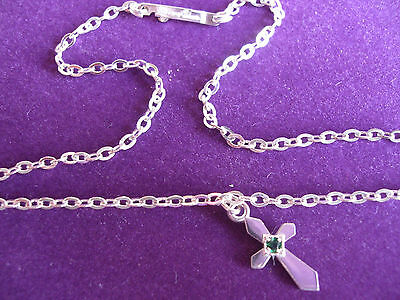 ANKLET, DIAMOND CUT CHAIN No5H WITH CROSS, STONE SET. 925 STERLING SILVER