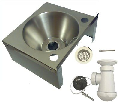 Stainless Steel HAND WASH BASIN Sink with Waste & UK Trap Included NO TAPS