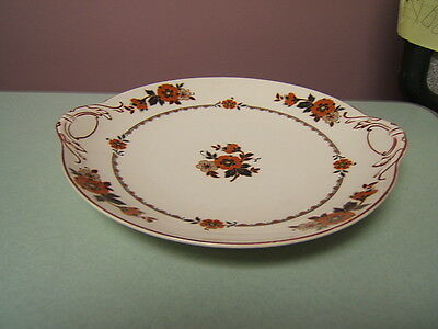 """J&G Meakin Sol """"Belle-Vue"""" handled round plate cake plate rust colored flowers"""