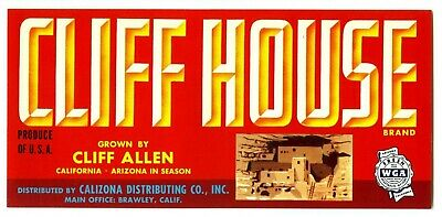 CLIFF HOUSE (INDIAN DWELLING) VINTAGE 1940s BRAWLEY CALIFORNIA FRUIT CRATE LABEL