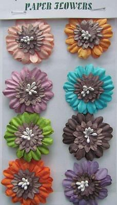 Adhesive Paper Flowers Shabby Chic 4 Card Making Scrapbooking Buy 2 get 1 FREE