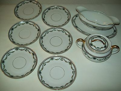 Heinrich&co Selb Bavaria China Gravy Boat, Sugar Bowl And 6 Saucers