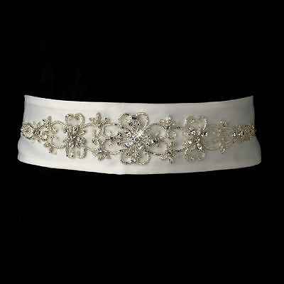 White or Ivory Beaded Rhinestone Wedding Sash Bridal Belt 20
