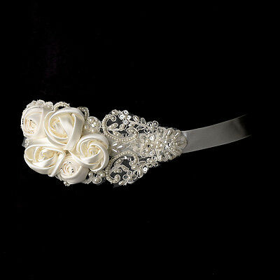 White or Ivory Floral Applique Wedding Sash Bridal Belt