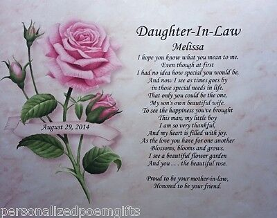 Daughter In Law Personalized Poem Ideal Birthday Present Or Christmas Gift Idea