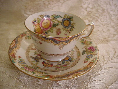 Vintage Antique Sutherland Bone China Cup Saucer Kiang Made England Hand Painted