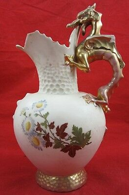 1800's DRAGON HANDLE PITCHER Austria Ewer IRON CROSS RH Porcelain Floral Antique
