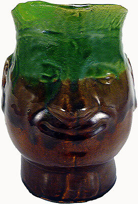 """Vintage Bennington Art Pottery Green & Brown 8"""" Toby Face Jug Pitcher As-Is"""
