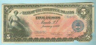 Bank Of The Philippines Islands 1920 Five Pesos, More Coins & Notes In My Store