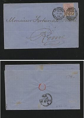 Great  Britain  #66 pl 2  on folded envelope to Italy  1876         FL0218