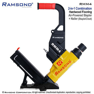 Ramsond RMM4 2-in-1 Pneumatic Hardwood Wood Floor Flooring Cleat Nailer Stapler