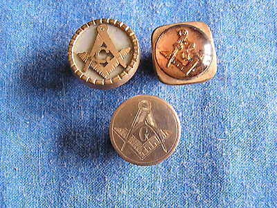 3 Victorian Rare Cufflinks Singles With Masonic Designs Early Large 1880S Htf