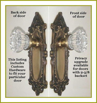 Finest Passage Set-Crystal Glass with Shell n'Leaf  Solid Brass-to fit any door