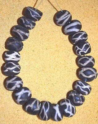 Antique Dutch Wound Black Glass Rattlesnake Beads W White Stripes, African Trade