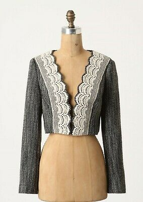 Cropped Tapestry Blazer Jacket By Tabitha Size 10 12 NW ANTHROPOLOGIE Tag